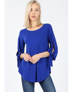 All Tied Up Half Sleeve Top with Tie Detail in Denim Blue - Essentially Elegant