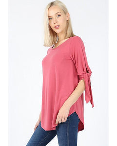 All Tied Up Half Sleeve Top with Tie Detail in Rose - Essentially Elegant