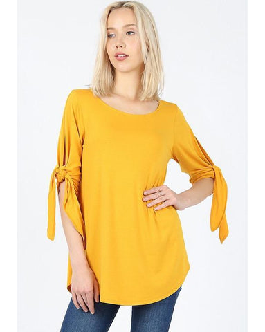 All Tied Up Half Sleeve Top with Tie Detail in Mustard - Essentially Elegant