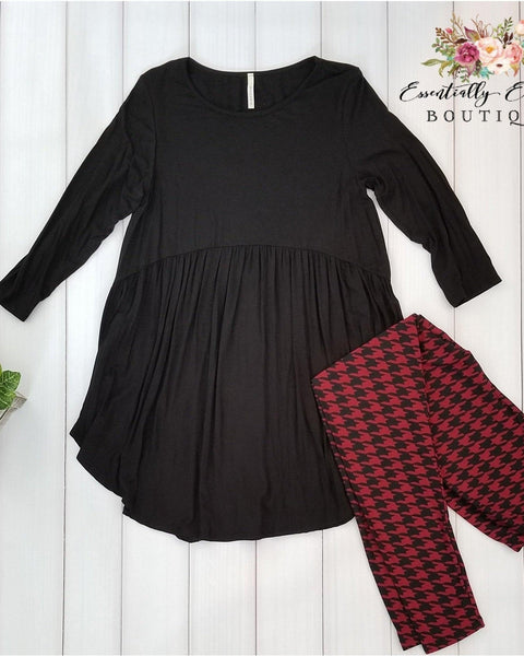 Black Babydoll 3/4 Sleeve Tunic Top - Essentially Elegant