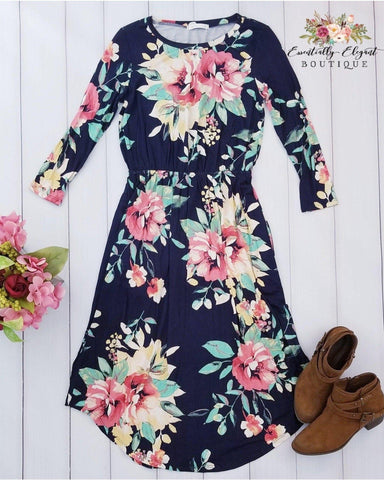 Dear To Me Floral Print Midi Dress with 3/4 Sleeves and Pockets in Navy - Essentially Elegant