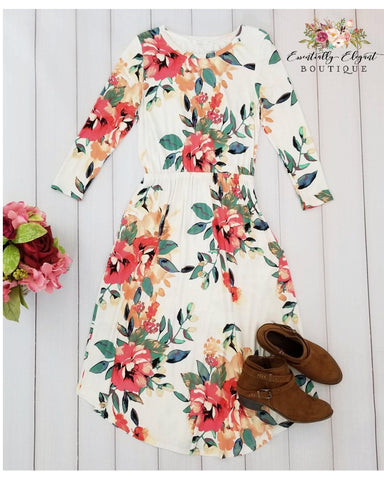 Dear To Me Floral Print Midi Dress with 3/4 Sleeves and Pockets in Ivory - Essentially Elegant