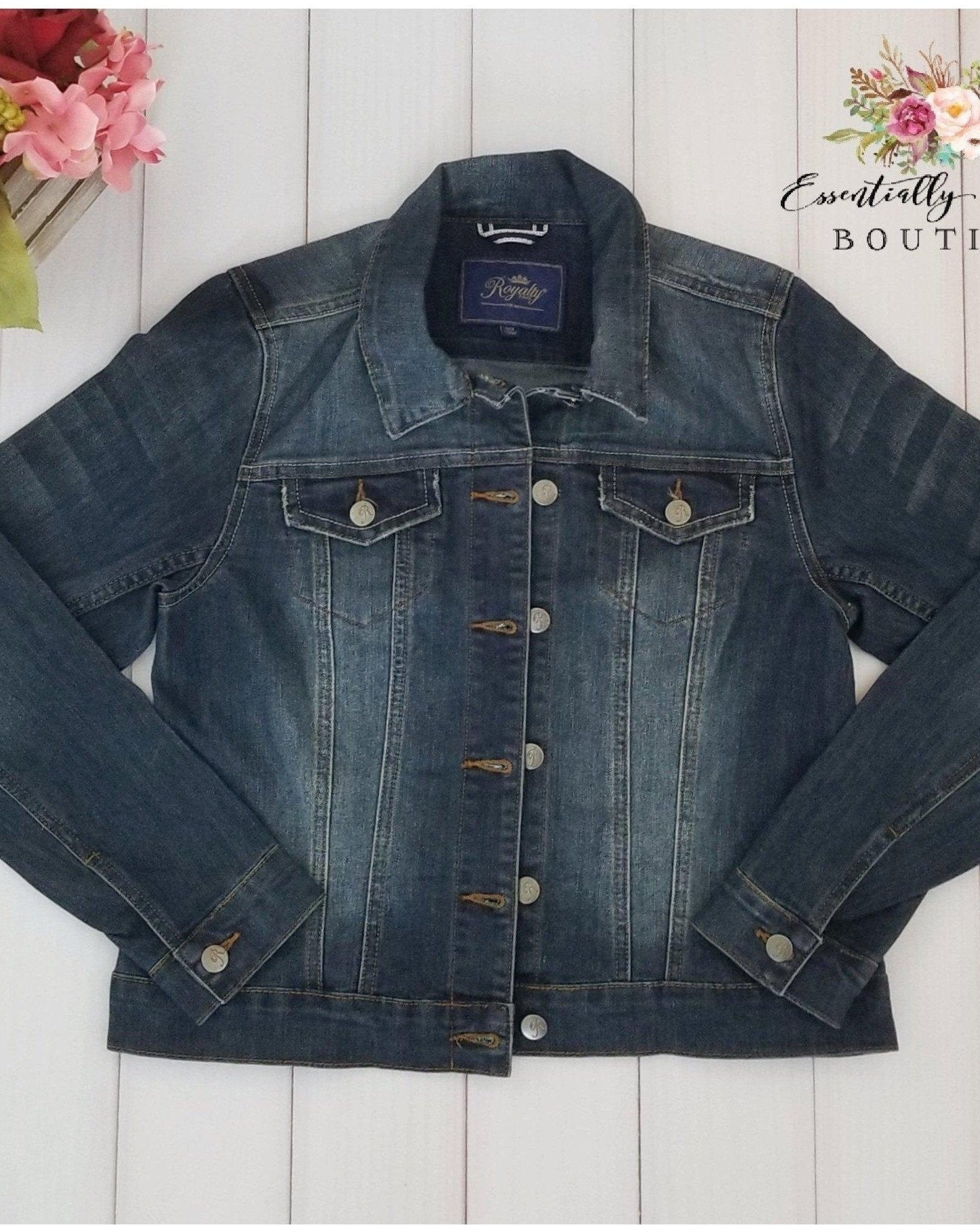 Dark Wash Distressed Denim Jacket - Essentially Elegant