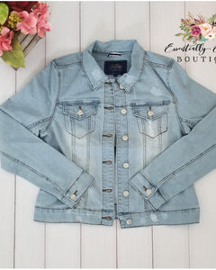 Light Stone Wash Distressed Denim Jacket - Essentially Elegant