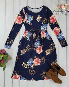 Ageless Bliss Floral Print Midi Dress with Long Sleeves and Pockets in Navy - Essentially Elegant