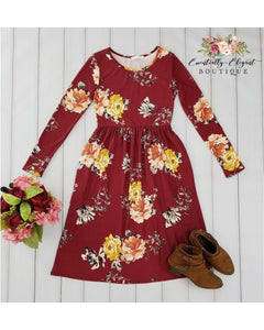 Ageless Bliss Floral Print Midi Dress with Long Sleeves and Pockets in Wine - Essentially Elegant