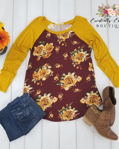 Impressions Mustard And Wine Floral Long Sleeve Top - Essentially Elegant