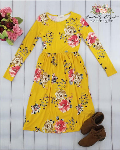 Ageless Bliss Floral Print Midi Dress with Long Sleeves and Pockets in Mustard Yellow - Essentially Elegant