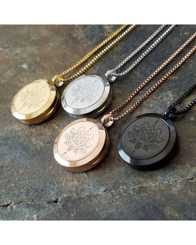 EE Exclusive  **Lotus** 25mm 316L Stainless Steel Four (4) Piece Set Essential Oil Diffuser Locket Pendant Necklaces S028 - Essentially Elegant