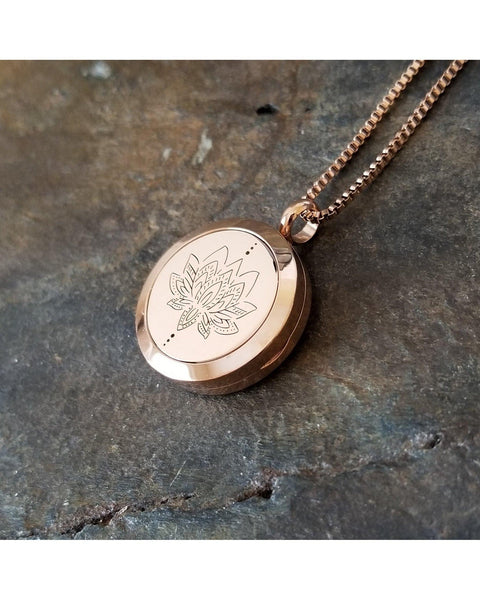 EE Exclusive **Lotus** 25mm Rose Gold and 316L Stainless Steel Essential Oil Aromatherapy Diffuser Necklace S025 - Essentially Elegant