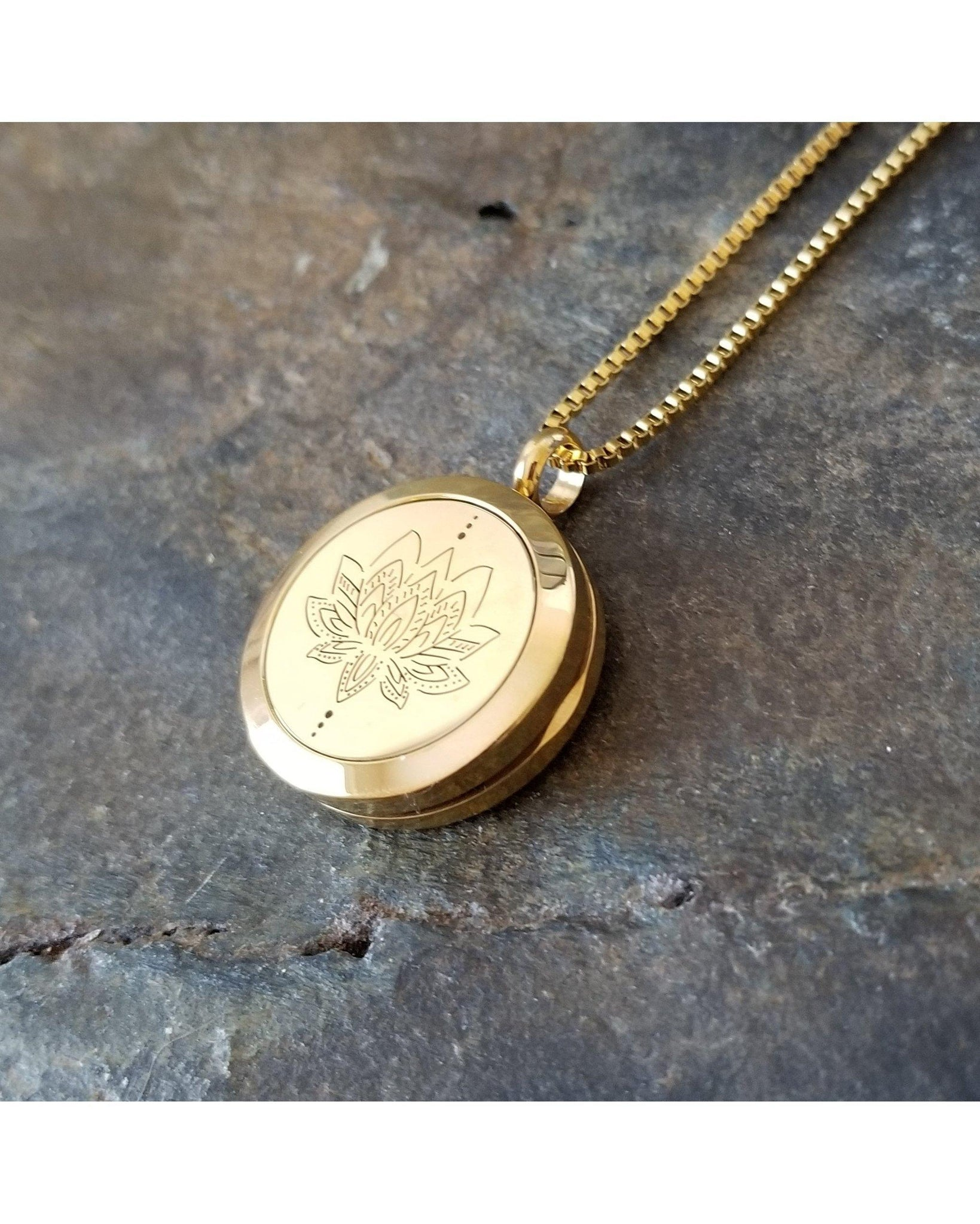 EE Exclusive **Lotus** 25mm Gold and 316L Stainless Steel Essential Oil Aromatherapy Diffuser Pendant Necklace S027 - Essentially Elegant