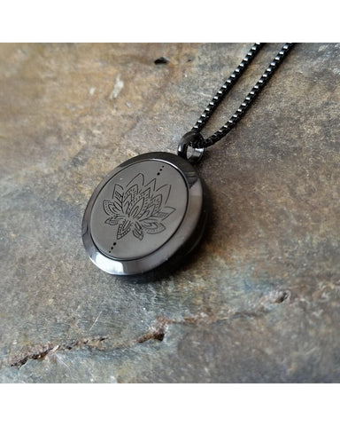EE Exclusive **Lotus** 25mm Black and 316L Stainless Steel Essential Oil Aromatherapy Diffuser Sacred Pendant Necklace S026 - Essentially Elegant