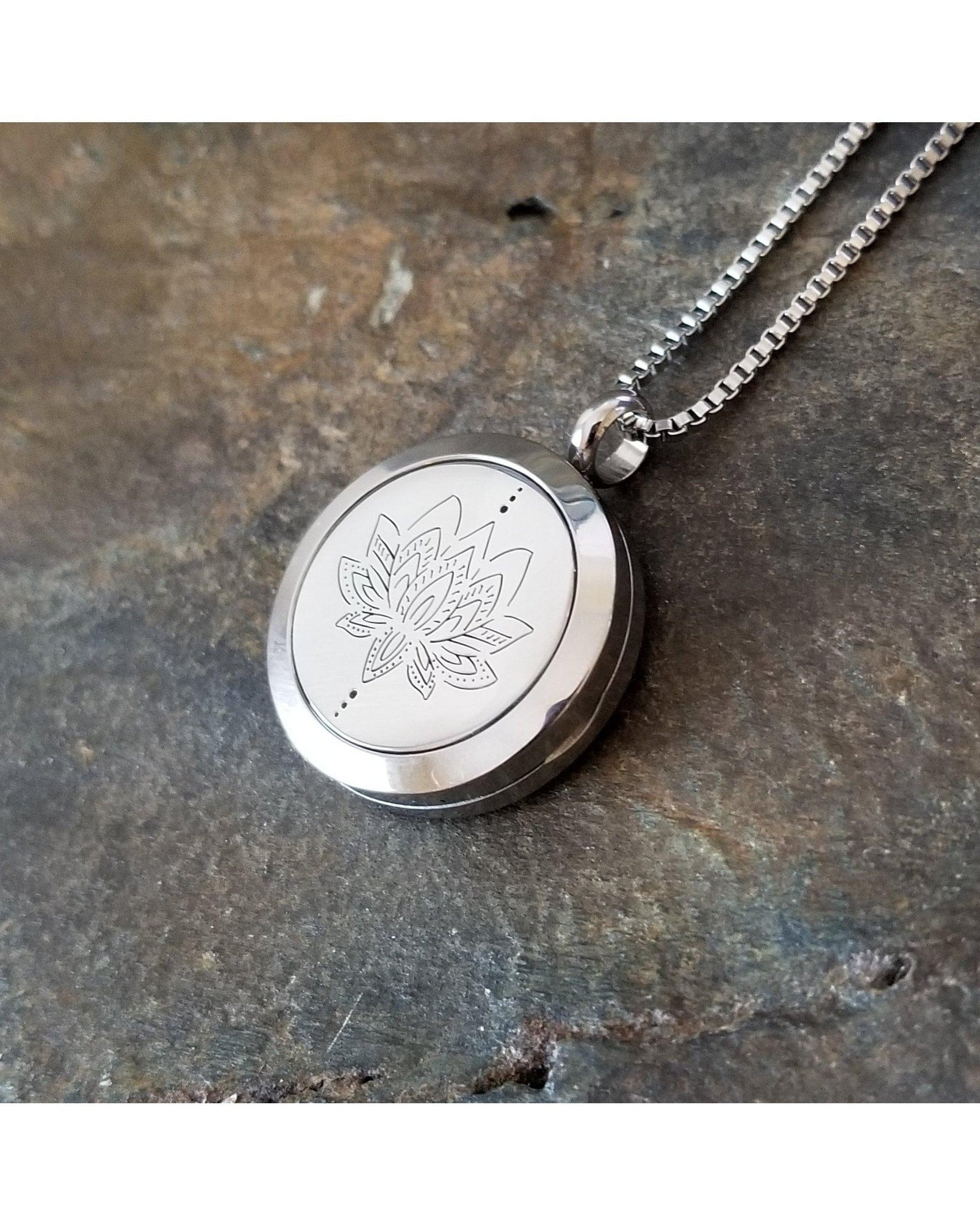 EE Exclusive **Lotus** 25mm Silver 316L Stainless Steel Essential Oil Aromatherapy Locket Diffuser Pendant Necklace S024 - Essentially Elegant