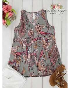 Off the Record Grey and Coral Print Sleeveless Top - Essentially Elegant