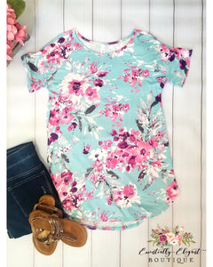 Lift Your Spirits Aqua and Fuchsia Floral Print Top - Essentially Elegant