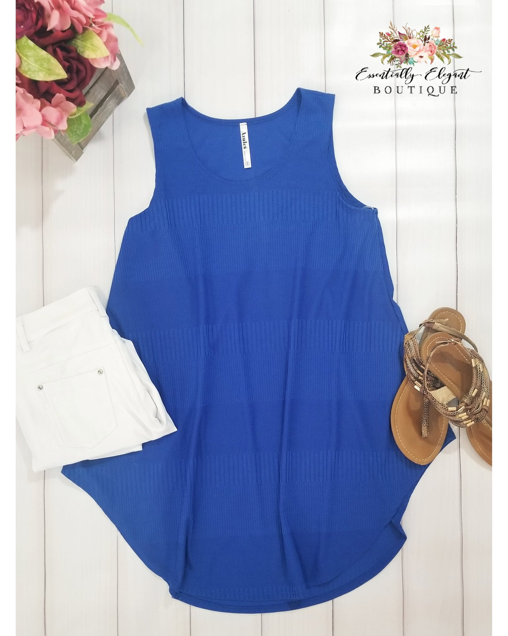 City Chic Sleeveless Knit Top in Royal Blue - Essentially Elegant
