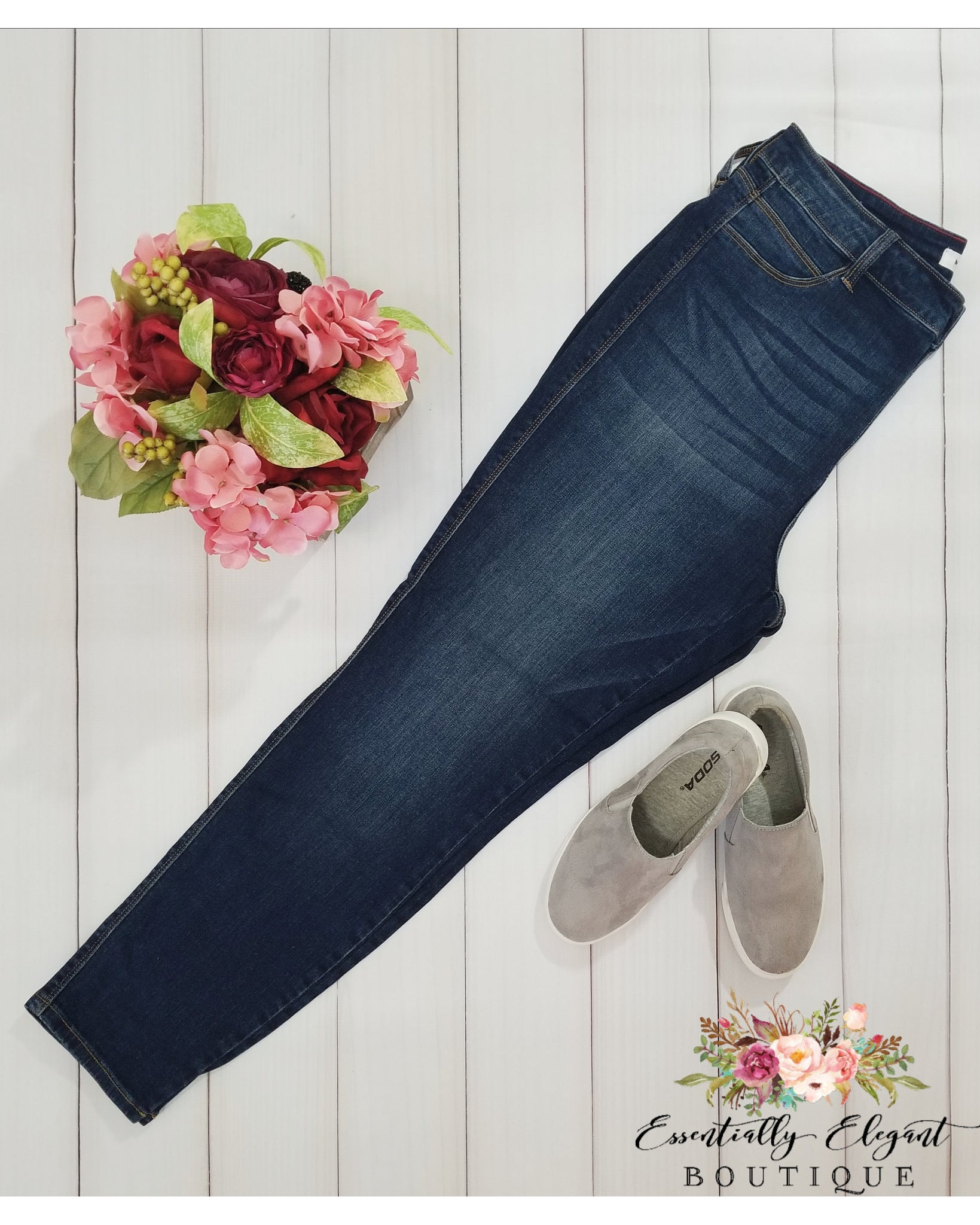 Cello High Rise Skinny Jeans - Dark Denim - Plus Size - Essentially Elegant