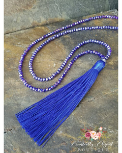 Royal Blue Silk Tassel Necklace - Essentially Elegant