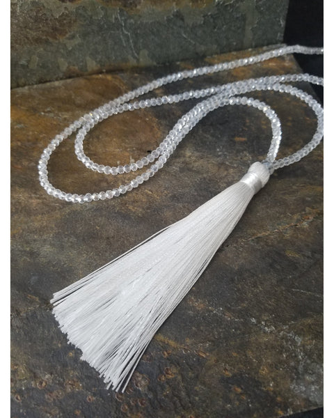 White Silk Tassel Necklace - Essentially Elegant