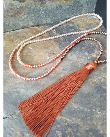 Rust Silk Tassel Mixed Color Beaded Necklace - Essentially Elegant