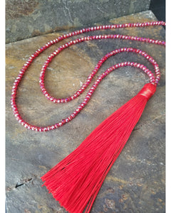Red Silk Tassel Necklace - Essentially Elegant