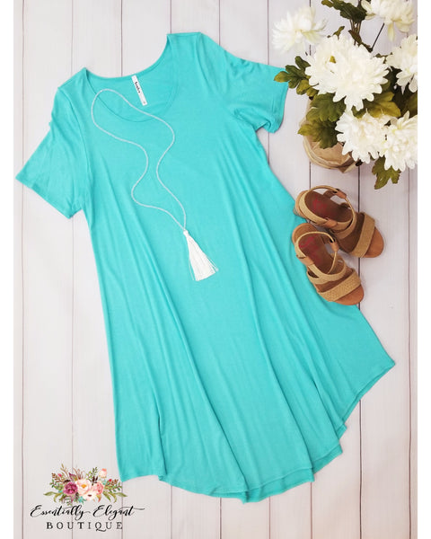 Keeping It Simple Short Sleeve Midi Dress in Mint - Essentially Elegant