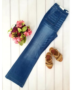 Cello Mid Rise Pull On Deluxe Comfort Flare Jeans  with Surplus Pockets - Medium Wash - Plus - Essentially Elegant