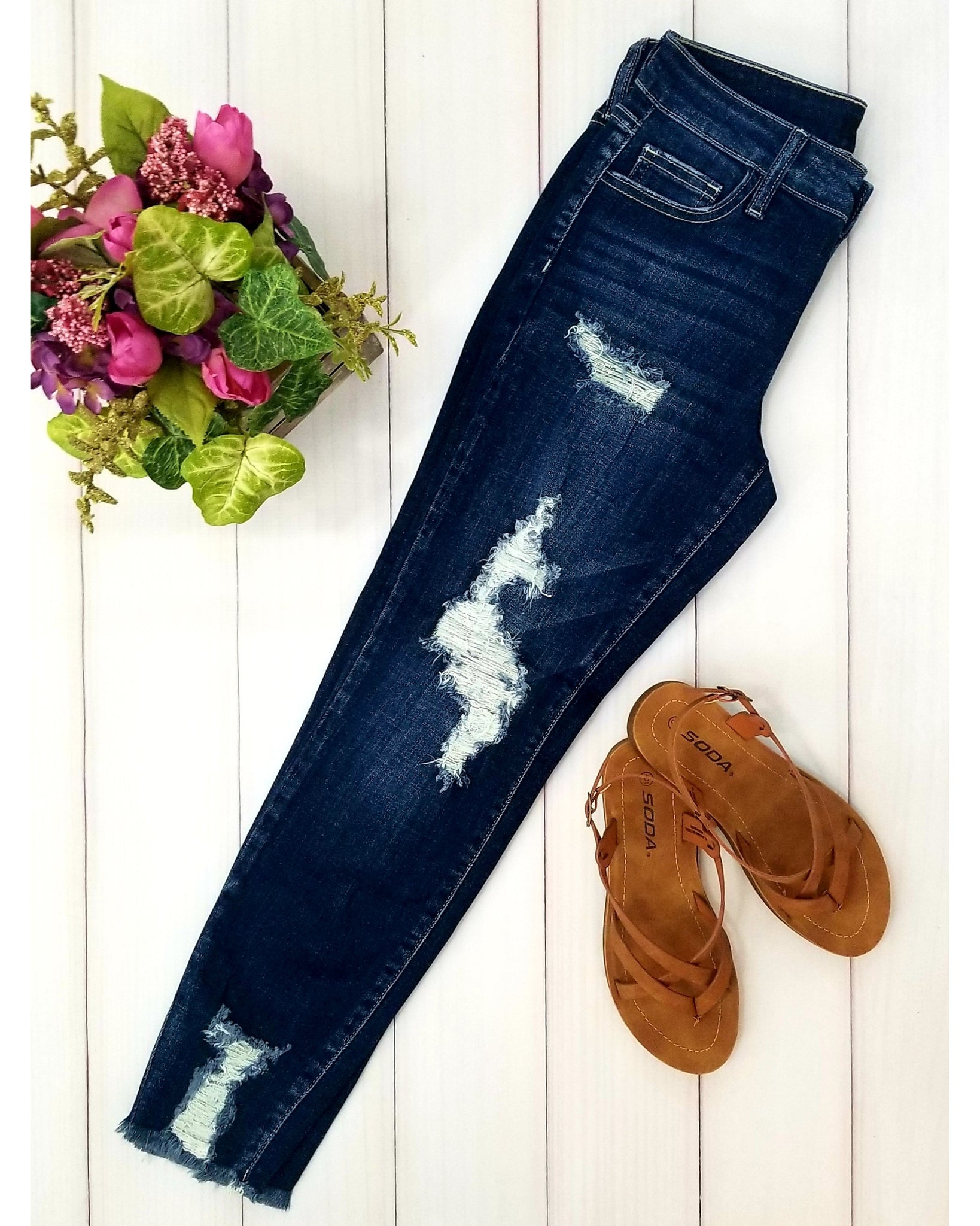Cello Mid Rise Heavily Distressed Cropped Skinny Jeans - Dark Denim - Essentially Elegant