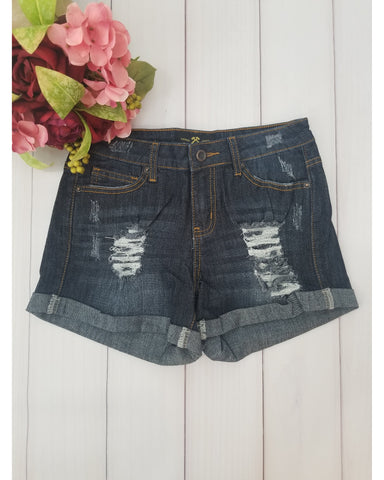 Hammer Jeans Premium Denim Distressed Jean Shorts - Dark Denim - Essentially Elegant