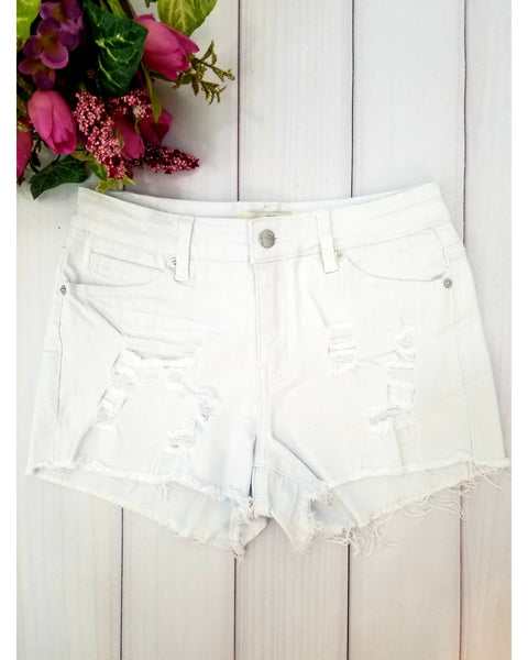 Hammer Jeans Distressed Jean Shorts with Frayed Hem - White - Essentially Elegant