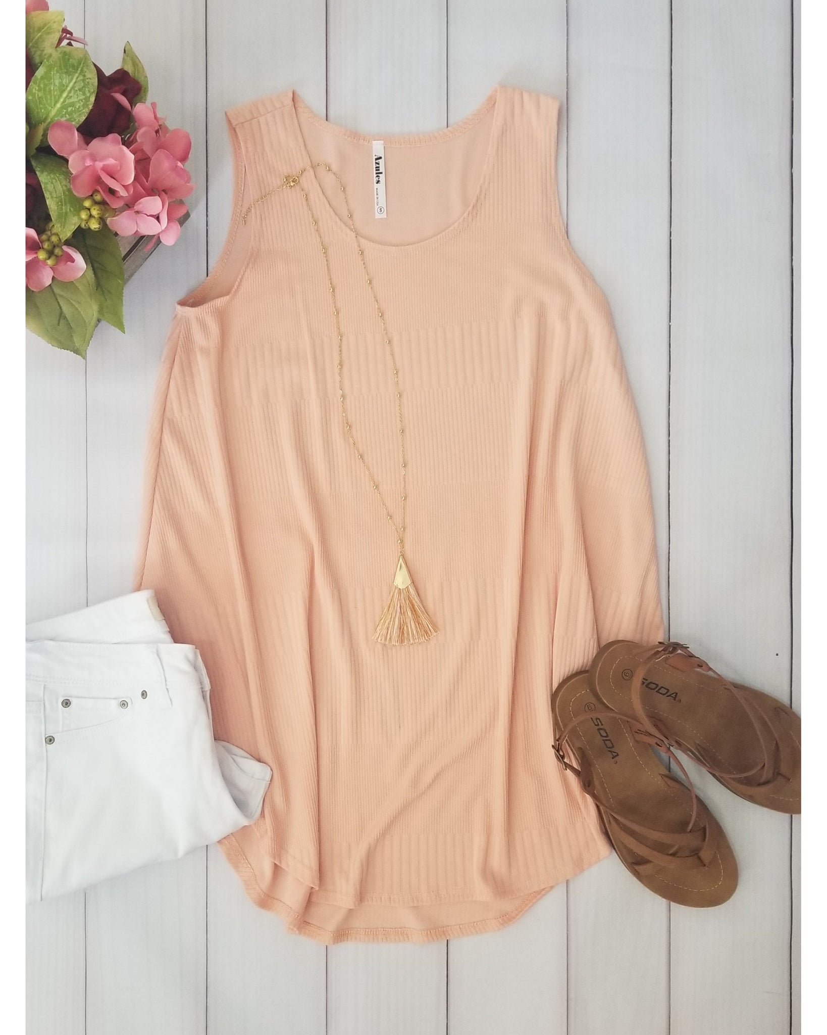 City Chic Sleeveless Knit Top in Peach - Essentially Elegant
