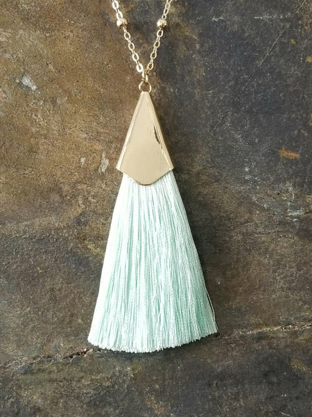 Mint Silk Tassel with Beaded Chain Fashion Statement Necklace - Essentially Elegant