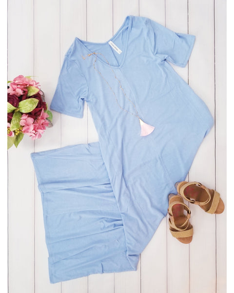 Keeping It Comfy Short Sleeve V-Neck Maxi T-Shirt Dress with Pockets in Spring Blue - Essentially Elegant