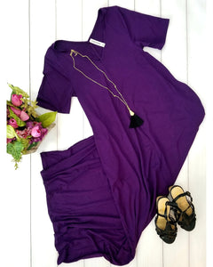 Keeping It Comfy Short Sleeve V-Neck Maxi T-Shirt Dress with Pockets in Dark Purple - Essentially Elegant