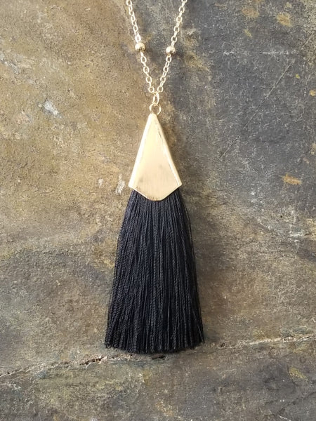 Black Silk Tassel with Beaded Chain Fashion Statement Necklace - Essentially Elegant