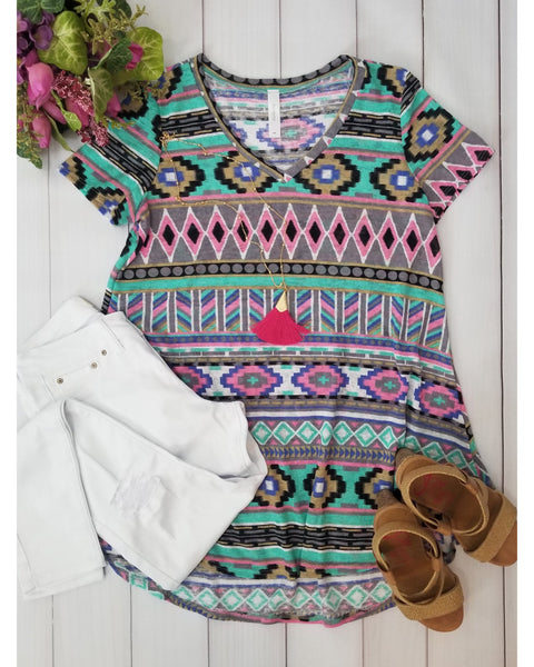 Wild and Free Aztec Print Tunic Top - Essentially Elegant