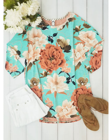 Spring Time Mint and Floral Print Dolman Top - Essentially Elegant