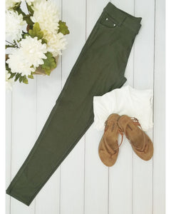 Yelete Super Stretchy Skinny Jeggings in Army Green - Essentially Elegant