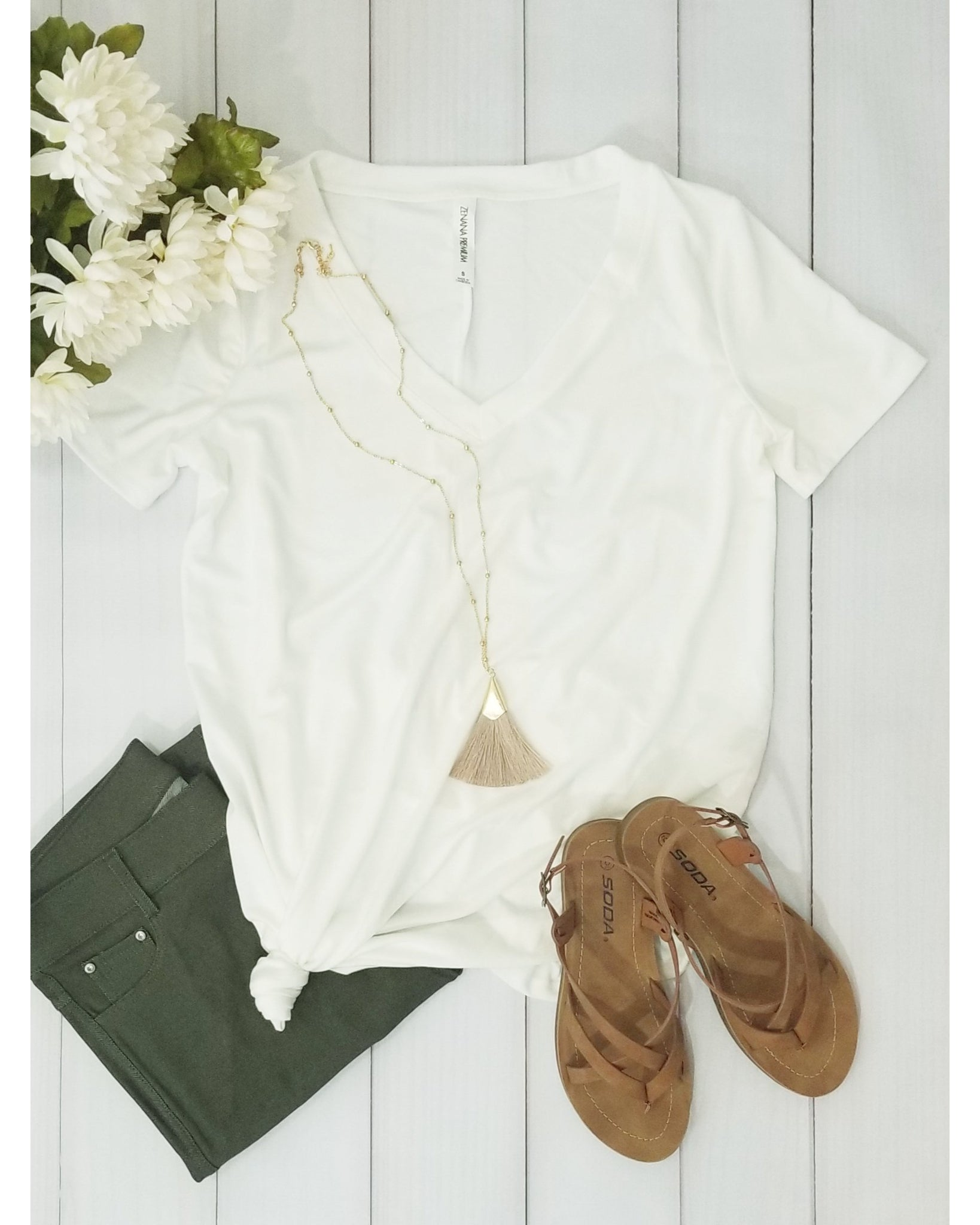 Keeping It Comfortable Short Sleeve V-Neck T-Shirt Top in Ivory - Essentially Elegant