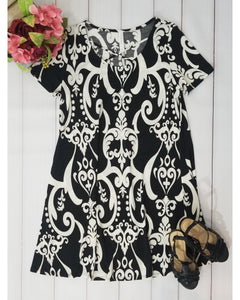 Vintage Love Black and White Print Dress with Criss Cross Neckline Detail - Essentially Elegant