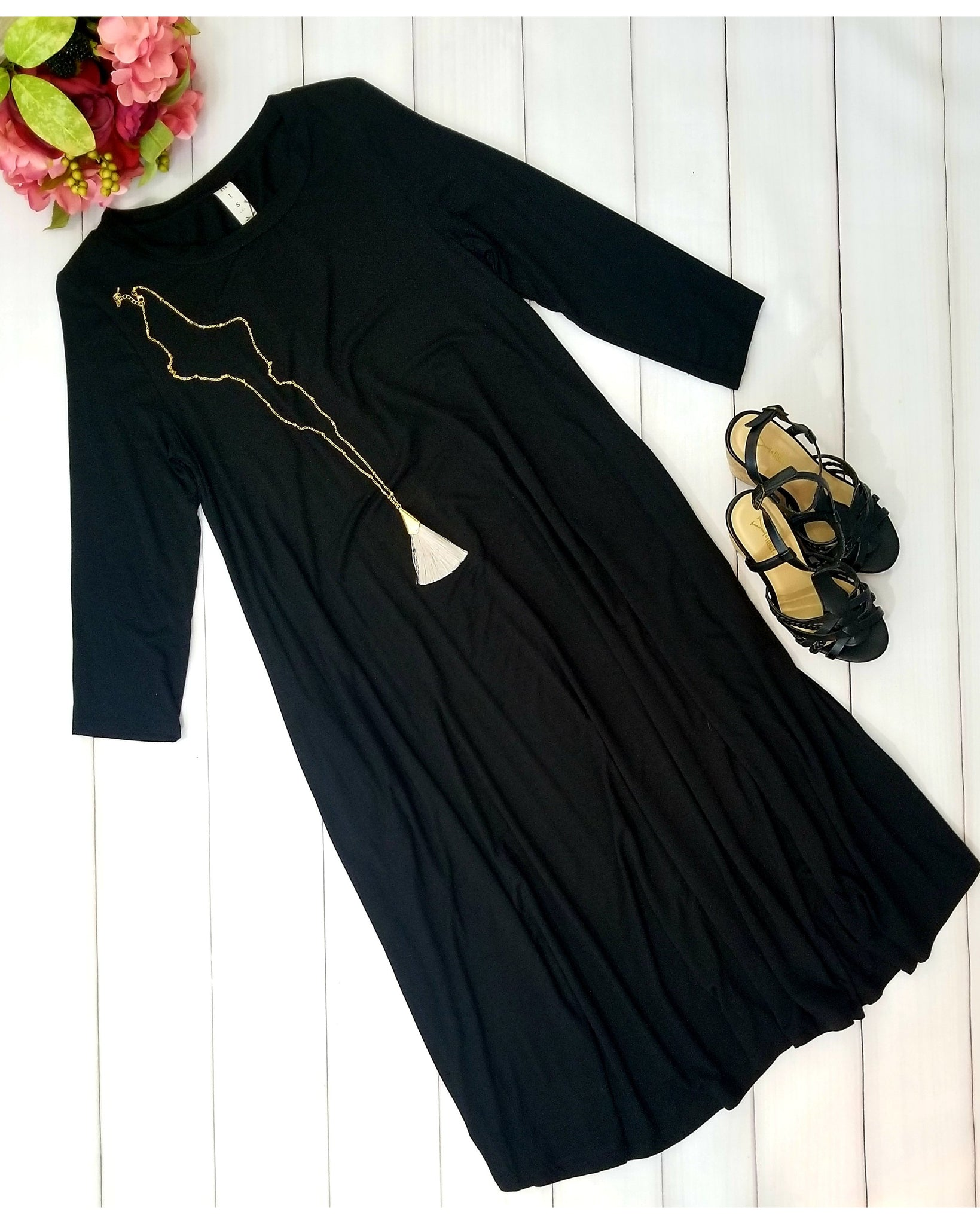 Bamboo Fabric Midi Dress with 3/4 Sleeves and Pockets in Black - Essentially Elegant
