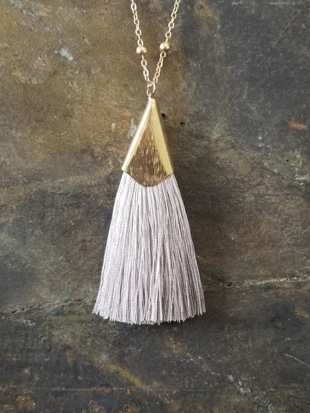 Silver Silk Tassel with Beaded Chain Fashion Statement Necklace - Essentially Elegant