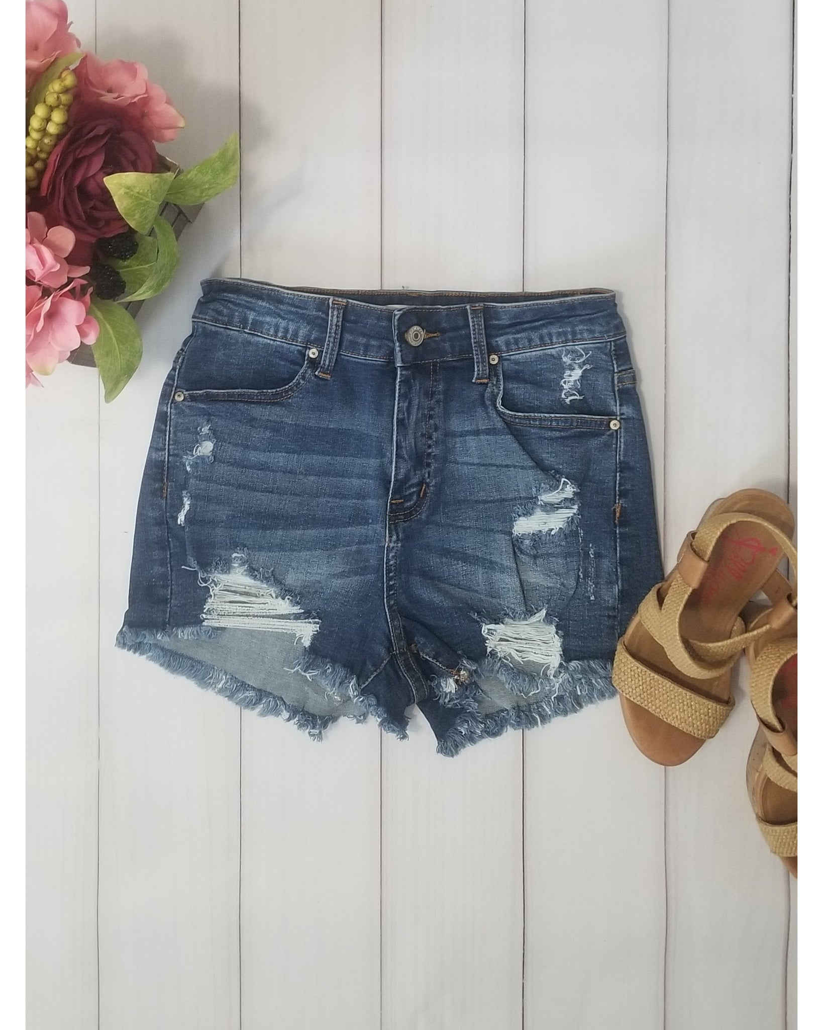 Hammer Jeans High Rise Distressed Jean Shorts with Frayed Hem - Dark Denim - Essentially Elegant
