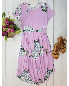 Ella Floral Print Pleated Midi Dress with Short Sleeves in Lilac - Essentially Elegant