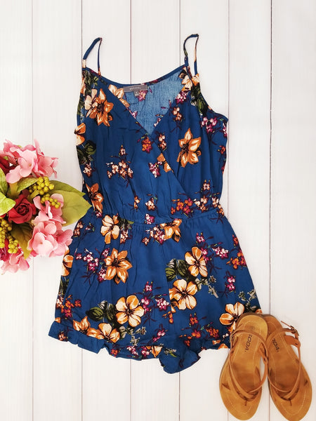 Summer Styling Floral Print Romper in Blue - Essentially Elegant