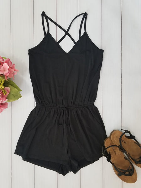 Beach Babe Drawstring Waist Strappy Romper in Black - Essentially Elegant