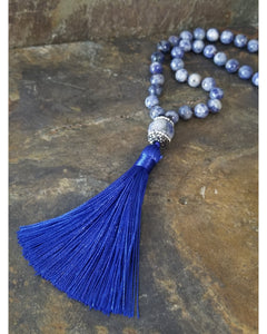 Sodalite Beaded Fashion Statement Necklace with Royal Blue Silk Tassel - Essentially Elegant