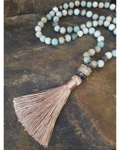 Amazonite Beaded Fashion Statement Necklace with Sand Color Tassel - Essentially Elegant
