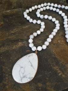 Howlite Beaded Fashion Statement Necklace with Teardrop Pendant - Essentially Elegant