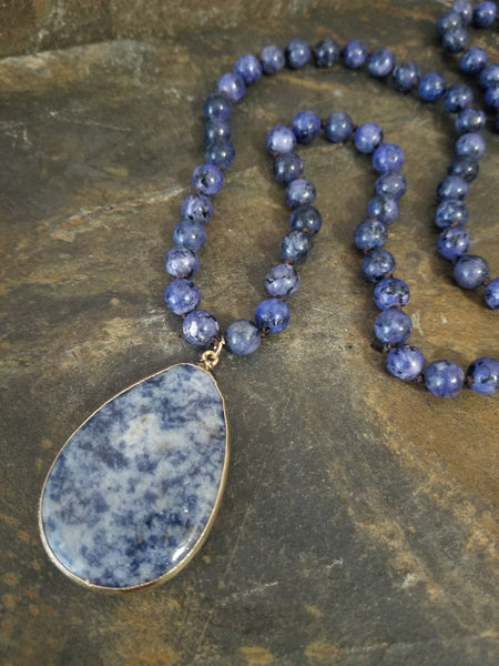 Sodalite Beaded Fashion Statement Necklace with Teardrop Pendant - Essentially Elegant